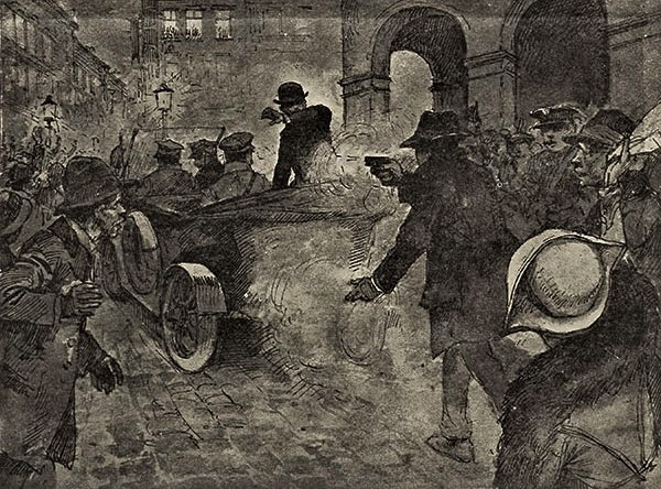 «Замах українця на начальника держави» — перша шпальта краківських «Ілюстрваних новин» за 1 жовтня 1921 року. Замах на Пілсудського був ключовою подією першої фази формування УВО.